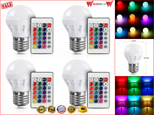 RBG 16 Colors Changing LED Bulbs Light Par Bulb, Remote 5050SMD E27 Screw 4 Pack