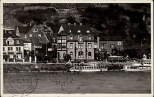 Bingen am Rhein s/w Postkarte Blick über den Rhein Schiffe Dampfer Anlegestelle