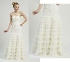 SUE WONG GOWN RUFFLE TIERED SKIRT BEADED WHITE WEDDING DRESS STRAPLESS sz 0