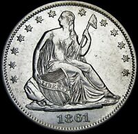 1861-S Seated Liberty Half Dollar Silver   ----  Stunning Details ----  #H187