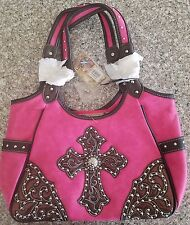 Montana West Purse New W/Tags Hot Pink & Black Cross Bag OV 8110 HPK