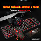 3-IN-1 Black Tricolor Backlight Gaming Keyboard+Mouse+ Headset Wired 3200DPI