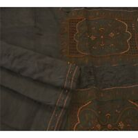 Sanskriti Vintage Black Saree Pure Silk Hand Beaded Premium Fabric Craft Sari