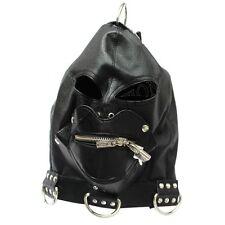 ZIPPER Mouth Gag PU Leather Full Gimp Open Eyes Hood Mask Padded Locking Costume