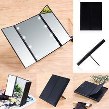 Foldable Tri-sided Lighted Beauty Vanity LED Makeup Cosmetic Stand Mirror