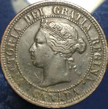 1886 CANADA LARGE 1 CENT PENNY - Obv#1 variety - Scarce coin! Verdigris