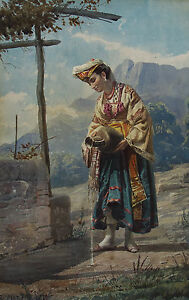 Belisario Gioja (Italian 1829-1906) original watercolor painting signed