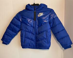 NIKE Puffer Hooded Fleece-lined Jacket Boys Size 6 Royal Blue NWT