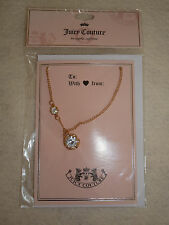 Juicy Couture Gold Tone Necklace Large & Small Crystal NEW