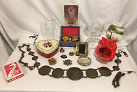 19 Pc Vintage Junk Drawer Lot Belt Avon Sponge-Holder Coca-Cola Glass 75th Ann