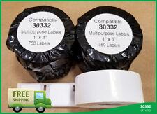 10 Rolls DYMO® 30332 Multipurpose White 1x1 Labels 330 400 450 Twin Turbo Duo