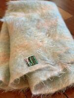 "Vintage 100% Mohair Wool Blanket Multi Color Rug Plaid  44""x 60"" Throw  Scotland"