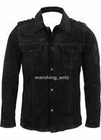 New Men Soft Leather Jacket Black Suede Shirt Casual size S M L XL Custom Made