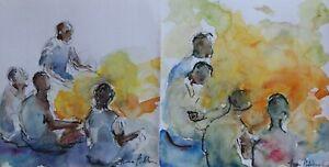 Fiona Goldbacher - Important British artist - Pair of figure paintings