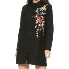 Floral Embroidery Cotton Shirt Dress
