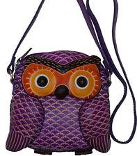 Genuine Leather Cross Body Bag, Baby Owl Face and Shape, Zipper closure, Purple