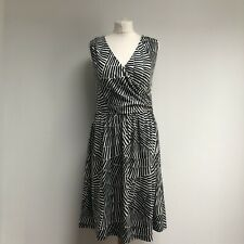 BODEN Dress Size 14 Long Patterned Black White Monochrome Sleeveless Holiday