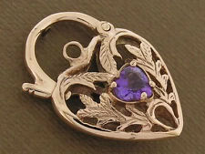 K041  Genuine 9ct ROSE GOLD Natural Amethyst  HEART Padlock Clasp Filigree