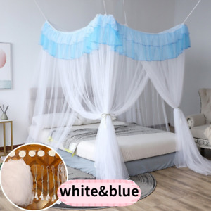 Romantic Princess Lace Canopy Mosquito Net No Frame Hooks Bed Curtain Fairy Blue