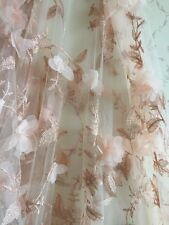 "Lace Fabric With 3D Chiffon Roses Pale Pink Rosette Tulle Lace Fabric 50"" 1 Yard"