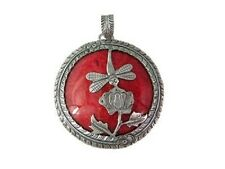 Red Coral Dragonfly Round  Pendant  925 Silver  Bali Jewelry Sterling Silver Ba