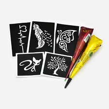 1 Set Henna Tattoo Stencil Paste Feather Cat Pattern Shoulder Body Art Templates