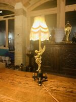 Gilded Brass Angel Table Lamp, Antique Cherub