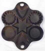 Vintage Cast Iron Cornbread Pan Heart Star Cookie Baking Muffin Mold Flutes