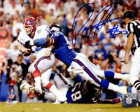 Pepper Johnson Signed New York Giants Sacking Jim Kelly 8x10 Photo - SCHWARTZ