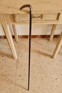 Antico bastone da passeggio in ebano e manico in argento 800 della II° meta 800