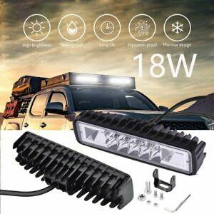 6inch 18W LED Work Light Bar 4WD Offroad Flood Pods Fog ATV SUV Driving Lamp US