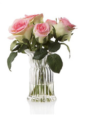 Artificial Flowers Roses Fake Water Glass Corrugated Vase 27 cm