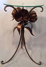 Vintage Floral Italian Flower Table Metal Gilt Hollywood Regency Flowers