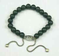 David Yurman Sterling Spiritual 8mm Hematite Matte Bead Bracelet Adjustable