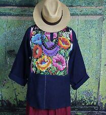 Hand embroidered Flowers Tunic Huipil Guatemala Hippie Boho Cowgirl Santa Fe