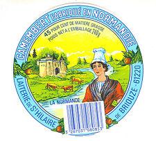 Etiquette de Fromage   Camembert  Fabriqué en Normandie No 332