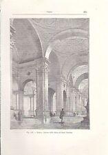 PADOVA INTERNO DELLA CHIESA DI SANTA GIUSTINA  incisione originale 1902