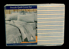Blue Stripe Poly Cotton Percale 250Tc King Quilt Cover Duvet Set +2 Pillowcases