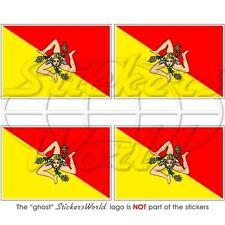 SICILE Drapeau SICILIEN 50mm Vinyle Sticker Autocollant x4