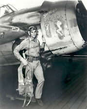 WW2 Photo WWII US Navy Pilot with Nose Art F4F  Wildcat World War Two USN