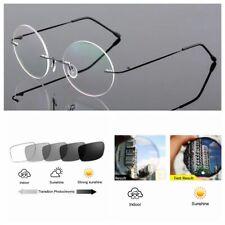 Bifocal Transition Photochromic Round Rimless Titanium Reading Glass +1.0 ~+3.0