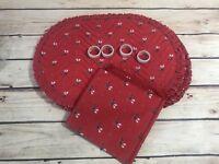 12 Pc Set Vintage Red Christmas Reindeer 4 Placemats 4 Napkin rings 4 Napkins