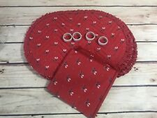 12 Pc Set Vintage Red Christmas Reindeer 4 Placemats 4 Napkin rings 4 Napkins