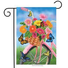 "Spring Bike Garden Flag Floral Butterfly 12.5"" x 18"" Briarwood Lane"