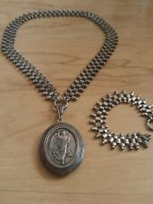Victorian Sterling Bookchain Mourning Angel Hair Locket Necklace Bracelet w/Hair