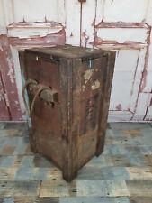 Vintage Old Wooden WW2 Ammunition Box Storage Trunk Laundry Bin Lamp Side Table