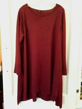 Eileen Fisher burgundy red merino wool A-line sweater dress tunic XL L