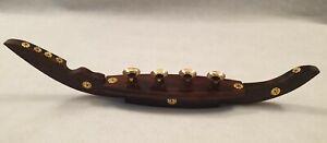 Vintage Unusual Viking Ship Wooden Candle Stick Holder Gold Colour Metal 44cm