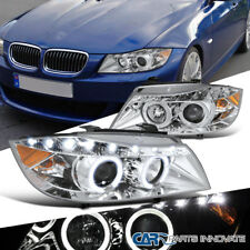 06-08 BMW E90 3-Series 325i 330i 4Dr Clear Dual Halo Projector LED Headlights