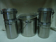 OLDER ROYAL STAINLESS STEEL 4 PIECE CANISTERS & MATCHING COOKIE JAR WITH BAIL